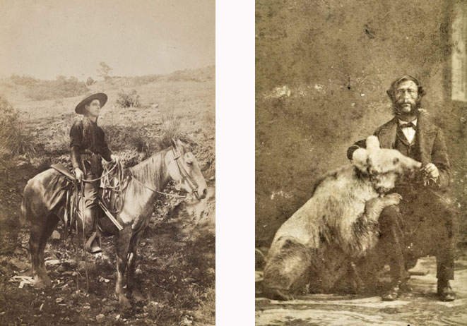 An alleged photograph of Calamity Jane and a photograph of Grizzly Adams with a bear