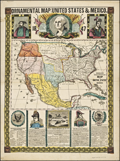 Ornamental map of the United States and Mexico